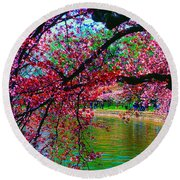 Cherry Blossom Walk Tidal Basin At 17th Street Round Beach Towel