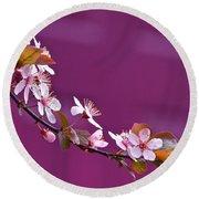 Cherry Blossoms And Plum Door Round Beach Towel