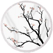 Cherry Blossoms Tree Round Beach Towel