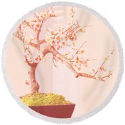 Cherry Bonsai Tree Round Beach Towel by Marian Cates