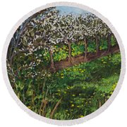Round Beach Towel featuring the painting Cherry Orchard Evening by Madonna Siles