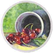 Cherry Pickins Round Beach Towel by Carol Wisniewski