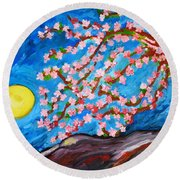Cherry Tree In Blossom  Round Beach Towel