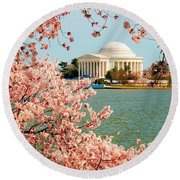 Cherry Trees At The Jefferson Round Beach Towel