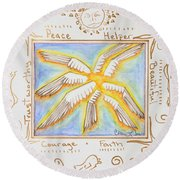 Round Beach Towel featuring the painting Cherubim by Cassie Sears