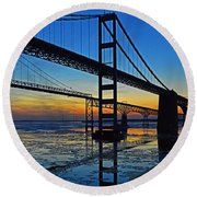 Chesapeake Bay Bridge Reflections Round Beach Towel