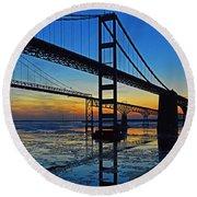 Chesapeake Bay Bridge Reflections Round Beach Towel