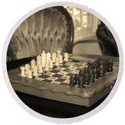 Chess Game Round Beach Towel