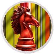 Chess Piece - Knight Round Beach Towel