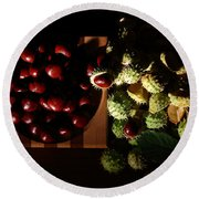 Round Beach Towel featuring the photograph Chestnuts by David Andersen