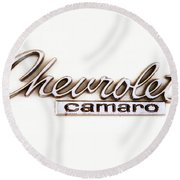 Chevrolet Camaro Emblem Round Beach Towel by Jerry Fornarotto