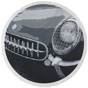Round Beach Towel featuring the painting Chevrolet Corvette 1954 by Anna Ruzsan