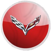 Chevrolet Corvette - 3d Badge On Red Round Beach Towel by Serge Averbukh