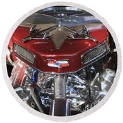 Chevy Engine Round Beach Towel