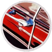 Round Beach Towel featuring the photograph Chevy Or Caddie? by Ira Shander