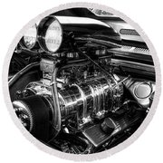 Chevy Supercharger Motor Black And White Round Beach Towel