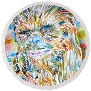 Chewbacca Watercolor Portrait Round Beach Towel by Fabrizio Cassetta
