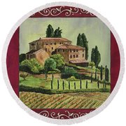 Chianti And Friends Collage 1 Round Beach Towel