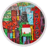 Chicago - City Of Fun - Sold Round Beach Towel by George Riney