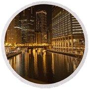 Chicago At Night Round Beach Towel by Daniel Sheldon