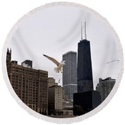 Chicago Birds 2 Round Beach Towel