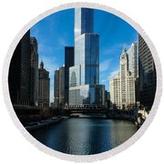 Round Beach Towel featuring the photograph Chicago Blues by Georgia Mizuleva