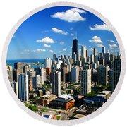 Chicago Buildings Skyline Clouds Round Beach Towel