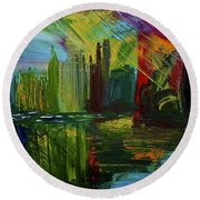 Chicago City Scape Round Beach Towel