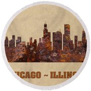 Chicago City Skyline Rusty Metal Shape On Canvas Round Beach Towel by Design Turnpike