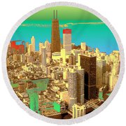Chicago Pop Art In Blue Green Red Yellow Round Beach Towel