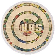 Chicago Cubs Vintage Logo Round Beach Towel