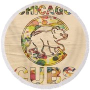 Chicago Cubs Vintage Poster Round Beach Towel