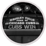 Chicago Cubs Win Fireworks Night B W Round Beach Towel