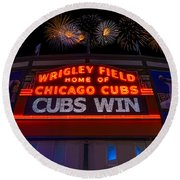 Chicago Cubs Win Fireworks Night Round Beach Towel
