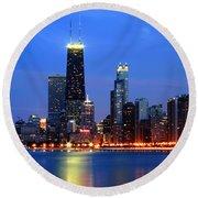 Chicago Dusk Skyline Hancock Round Beach Towel