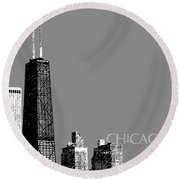 Chicago Hancock Building - Pewter Round Beach Towel