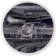 Chicago Icons Bw Round Beach Towel by Steve Gadomski
