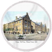 Chicago Illinois - Hull House - Halstead Avenue - 1906 Round Beach Towel