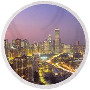 Chicago, Illinois, Usa Round Beach Towel by Panoramic Images