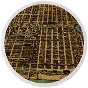 Chicago Illinois Vintage Map Business District 1898 Birds Eye View Illustration On Parchment  Round Beach Towel