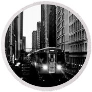 Chicago L Black And White Round Beach Towel