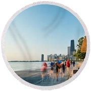Chicago Lakefront Panorama Round Beach Towel by Steve Gadomski