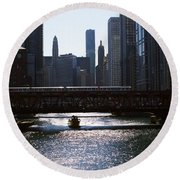 Chicago Morning Commute Round Beach Towel