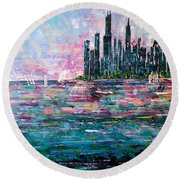 Chicago Morning - Sold Round Beach Towel by George Riney