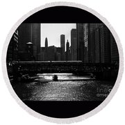 Chicago Morning Commute - Monochrome Round Beach Towel