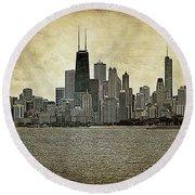 Chicago On Canvas Round Beach Towel