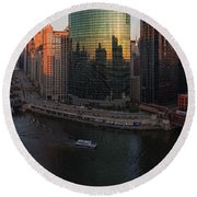 Chicago On The River Round Beach Towel