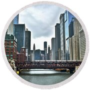 Chicago River And City Round Beach Towel