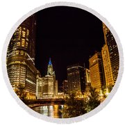 Chicago Riverwalk Round Beach Towel by Melinda Ledsome