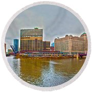 Round Beach Towel featuring the photograph Chicago Skyline And Streets by Alex Grichenko